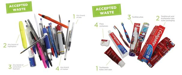 Recycling pens and toothpaste